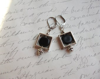 Geometric square silver and black earrings