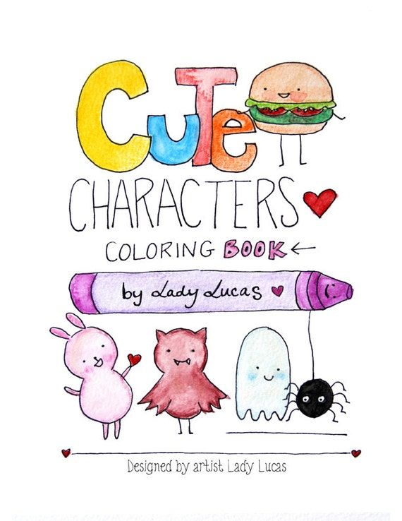 kawaii coloring book cute characters printable instant download pdf featuring 31 pages of animals food seasonal characters - Kawaii Coloring Book