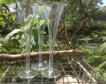 Vintage Crystal Hollow Stem Champagne Flutes - set of 3