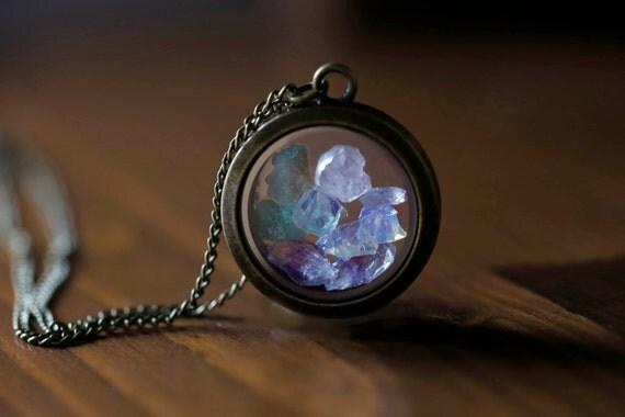 Gemstone locket necklace - moonstone - amethyst - rose quartz - fluorite - multi stone -glass necklace -