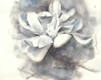 """Original watercolor pinting magnolia flower 10x10"""""""