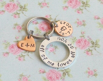 Couples Keyring for Him, Wedding Day Gift for Husband, Romantic Gift Idea, All Of Me Loves All Of You Personalized Keyring, Anniversary