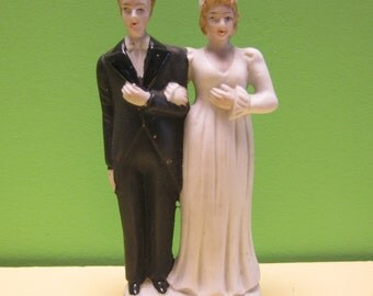 1940's Post War Bride & Groom Wedding Cake Topper - Occupied Japan - Free Shipping