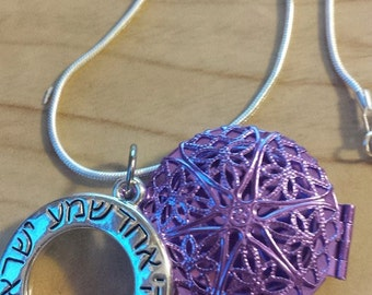Purple essential oil diffuser locket with Shema Silver Pendant/ Dead Sea Clay Insert