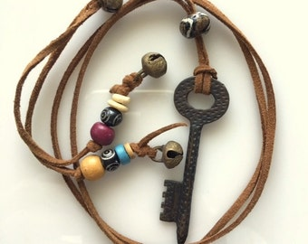 Long Leather Key Necklace With Beads