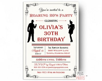 Roaring 20s Invitation - Printable 1920s Invitations - Roaring 20s Birthday Invitation - Great Gatsby Birthday Invitation - Flapper Girl