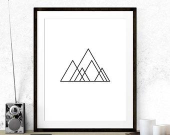 Minimalist Mountain Print, Geometry Art, Minimalist Mountains, Minimalist Art, Graphic Art, Graphic Print, Geometric Art Print, Wall Decor