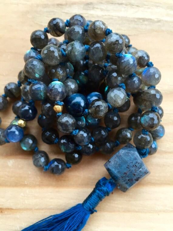 Labradorite Mala Beads, Kyanite, 18K Gold, Raw Kyanite Guru Third Eye Chakra Knotted Mala Necklace Yoga Jewelry Spiritual  108 Healing Mala