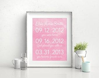 Adoption Dates Art, Adoption Art, Adoption Keepsake, Adoption Gift, Birth Announcement, Birth Details, Christmas Gift