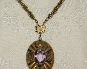 Vintage Art Deco era Victorian etruscan revival possibly Czech amethyst crystal chunky pendant necklace