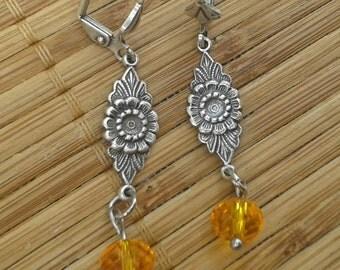 Sunflower earrings - yellow cheerful happy topaz november birthstone