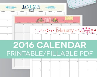 "Printable Calendar, 2016, Themed, Fillable PDF, Digital Monthly Pages, Letter Size 8.5"" x 11"" Instant Download, Landscape"