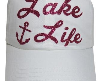 "NEW! Fuchsia Glitter ""Lake Life"" and Anchor White Cotton Baseball Cap"