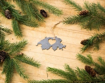 Heart Switzerland Christmas Ornament, Steel Country Ornament