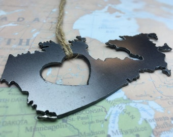 Heart Canada Christmas Ornament Steel Ornament or Decoration