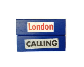 LONDON CALLING | Fridge Magnets | BLUE | Retro | Home Decor | Office Magnets | Recycled Gift |  For Her | For Him |