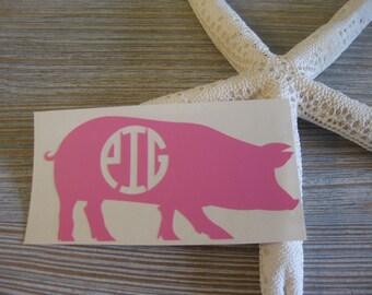 Pig Monogram Car Decal - Monogram Pig Car Decal - Monogram Car Decal - Monogram Decal - Car Decal - Pig Decal - Pig - Monogram - Sow Decal