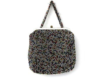 Vintage 50s purse beaded primary colors