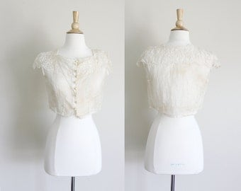 1910s Sheer Embroidered Blouse // Small