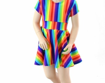 Toddlers and Girls Size 2T 3T 4T and 5-12 Brite Rainbow Stripe Cap Sleeve Skater Dress 151951