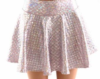 "10"", 12"" or 15"" Silver on Baby Pink Mermaid Scale Circle Cut Mini Skirt Rave Clubwear EDM Festival Clubwear 151376"