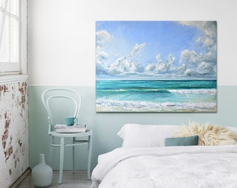 """Abstract Ocean Painting Sea Art Acrylic Original // """"Being Free"""" 30 x 40"""" Canvas"""