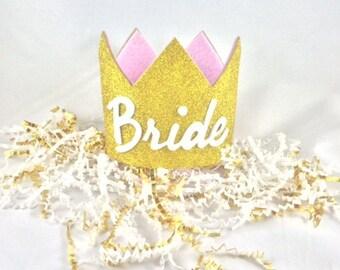 Bridal Crown, Bride Crown, Bachelorette Crown, Glitter Crown, Queen Crown (Gold)