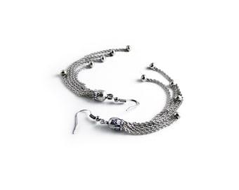 Chain Tassel Earrings, Long Earrings, Silver Tone Metal Tassel Dangle Drop Fringe Earrings, Tassel Jewelry, Tassle Statement Earrings