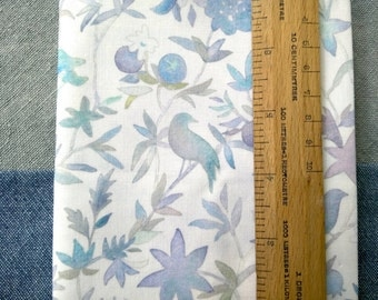 Watercolor Fabric | Bird fabric, forest fabric cotton print, blue watercolor floral fabric, blue bird print fabric from original watercolor.