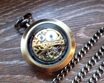 Steampunk Pocket Watch with Watch Chain Personalized Skeleton Pocket Watch Clearance Gift for Him Mens Gift Mens Watch Ships to US/Canada
