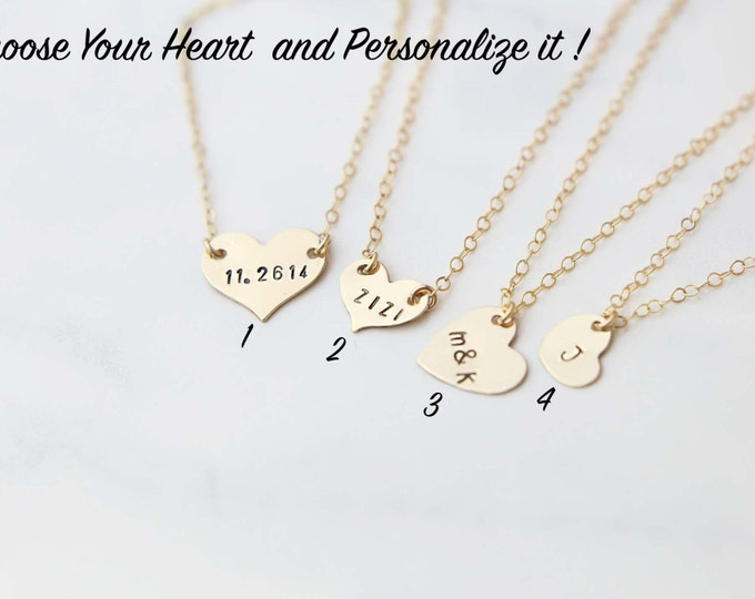 Personalized Heart Necklace Valentines Gift for Her //Necklace Gift Ready and Packaged to Gift //  Gifts for her under 25