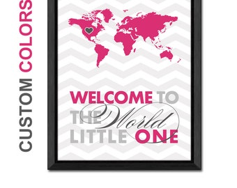 New baby girl wall decor world map girl nursery little baby girl gift ideas baby girl room decor world map baby art map gumiabroncs Image collections