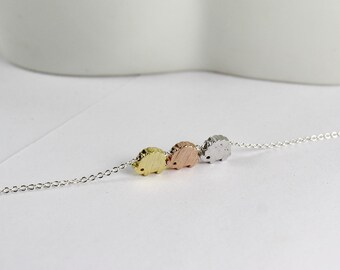 Hedgehog Necklace,Rose Gold Hedgehog, Three Sisters Gift.  Mini bead Bracelet,Gift Jewelry,birthday gift,Delicate Jewelry.Three Best Friends