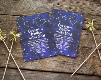 Our Love is Written in the Stars, Invitation Set, Watercolor Invites, Star Invitations,Heart Constellations,Celestial Invites,Zodiac Wedding