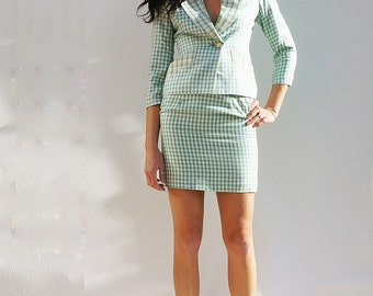 Christian Dior Suit, Vintage 80s Green Check Christian Dior Silk Skirt Suit, Dior Silk Coord, Plaid Silk Skirt Suit, Vintage 1980s Dior