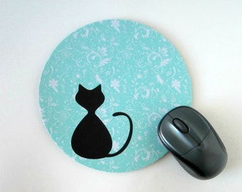 Cat Mouse Pad - Cat Mousepad - Round Computer Mouse Pad, Gift for Cat Lover, Coworker Gift, Aqua Blue Cottage Chic Office Decor, Accessories