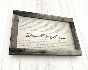 anniversary gift for husband personalized wedding vows framed keepsake rustic barnwood frame with stretched canvas one year anniversary