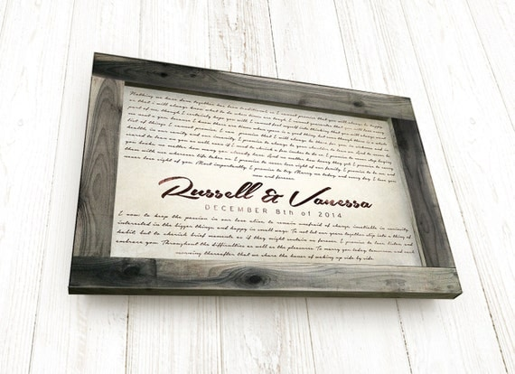 anniversary gift for husband personalized wedding vows framed