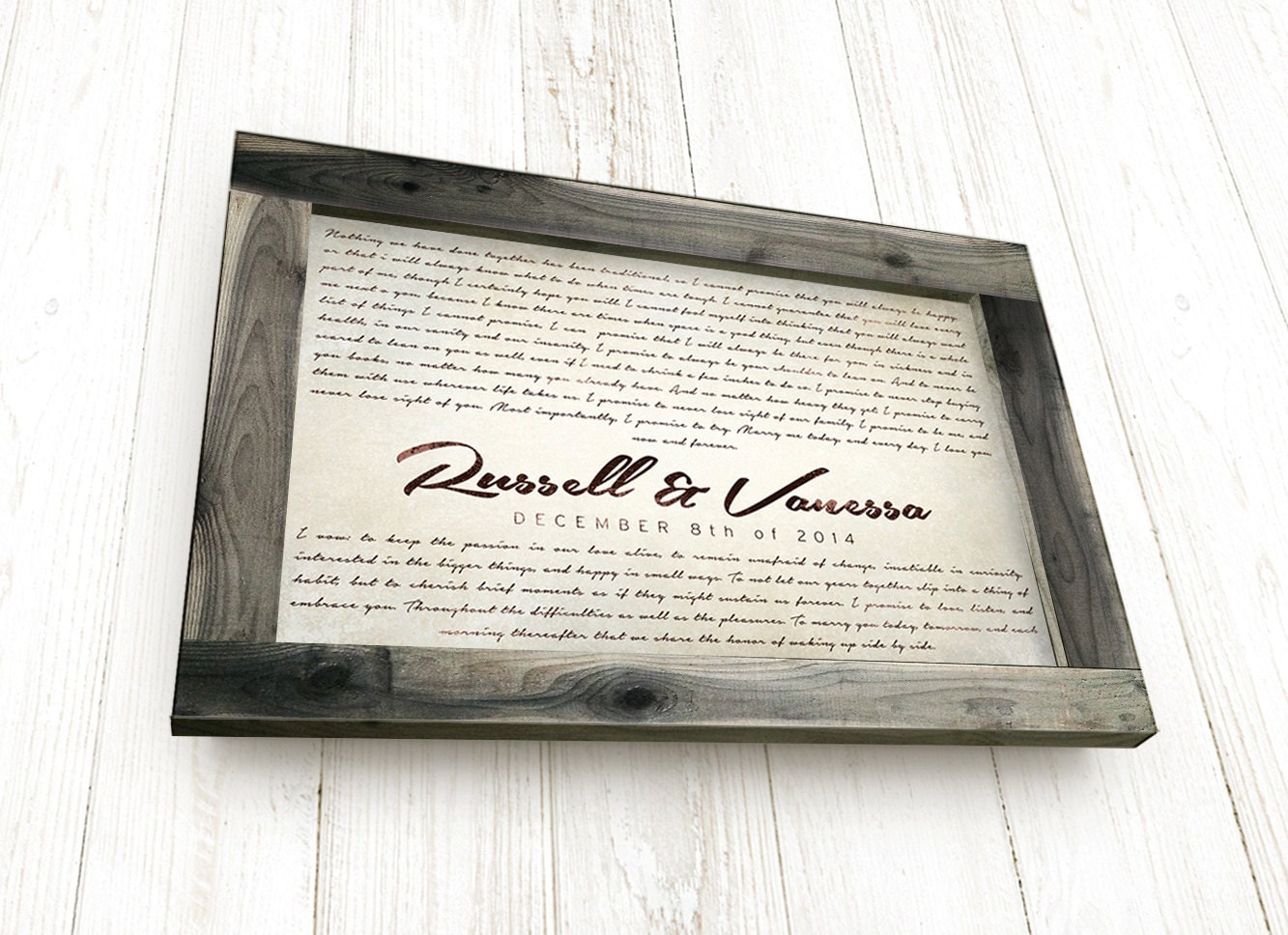 Wedding Ceremony Gift: Anniversary Gift For Husband Personalized Wedding Vows Framed