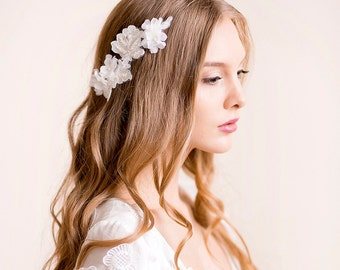 Wedding Headpiece of Lace and Silk Flowers - Lace Headpiece with Silk Flower - Bridal Hairpiece - Wedding Hair Accessory - Ivory, Soft white