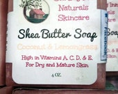 Lot of 3 - 4+oz. Bars of Organic Shea Butter Soap high in vitamins & excellent for sensitive, mature, dry irritated skin