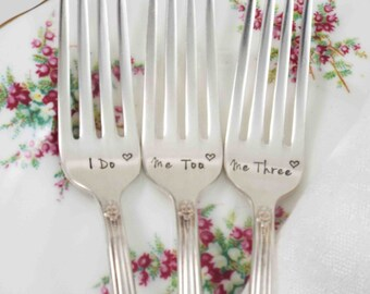 I Do Me Too Me Three, Wedding Forks, I Do Me Too Forks, Me Three Forks, Wedding Fork Set, Wedding Table Settings, Wedding Gift, Forks