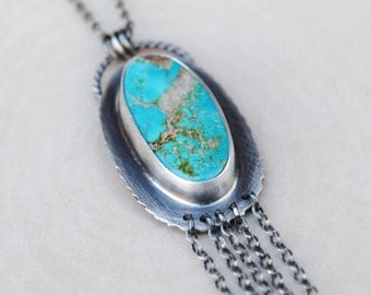 Natural Pilot Mountain Turquoise Necklace - Silver Turquoise Necklace
