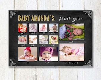 Baby's First Year Birthday Collage sign - Custom 1st birthday chalkboard photo prop sign - DIGITAL file!