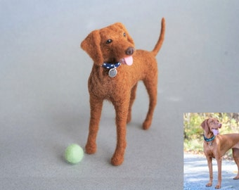 Needle Felted Vizsla Dog, Pointing Dog, Pointer, Customize Pet Portrait, Miniature Pet, Felted Animal, Gift to Pet Lovers, Stocking Stuffer