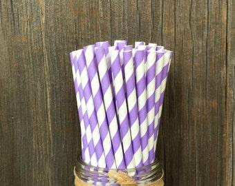 Lilac Straws, 100 Stripe Straws, Lavender Straw,  Birthday Party,  Violet Straw, Paper Straws, Baby Shower, Wedding Supply,  Free Shipping