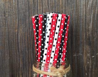75  Black, Red and White Polka Dot Paper Straws - Birthday, Ladybug Party Supply