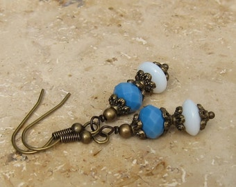 Vintage style earrings white blue bronze