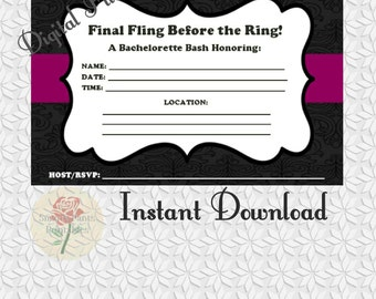 Digital Download - Classic Bachelorette Party Invitation (Instant Download)