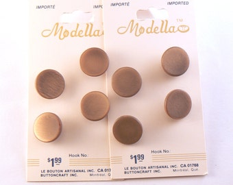 """8 - 5/8"""" Brown Buttons - Plastic Golden Brown Moonglow Shank Buttons - 15 mm Brown Sewing Buttons - Vintage Buttons - Button Card #GNS-29-01"""